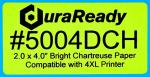 "Cost-effective, 2.0 x 4.0"" Bright Chartreuse Paper DuraReady Label, for high quality shipping labels, logistics labels, container labels and dispensary labels."