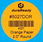 "Eye-catching, 2"" round orange paper labels, ideal for candles, jars, lids and caps, color-coding labels, vape and dispensary labels."