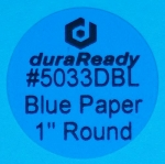 "Small, 1"" round blue paper label, print on-demand labels for vials, jars, lids, prescription bottles, color-coding, dispensaries and vape e-liquid."