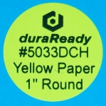 "Small, 1"" round bright chartreuse yellow paper label, print on-demand labels for vials, jars, lids, prescription bottles, color-coding, dispensaries and vape e-liquid."