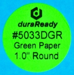 "Small, 1"" round bright green paper label, print on-demand labels for vials, jars, lids, prescription bottles, color-coding, dispensaries and vape e-liquid."