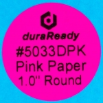 "Small, 1"" round bright pink paper label, print on-demand labels for vials, jars, lids, prescription bottles, color-coding, dispensaries and vape e-liquid."