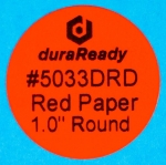 "Small, 1"" round bright red paper label, print on-demand labels for vials, jars, lids, prescription bottles, color-coding, dispensaries and vape e-liquid."