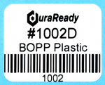 "1002D 1.25 x 1.0"" White BOPP plastic label"