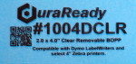 "Crystal clear, 2.0 x 4.0"" removable BOPP plastic DuraReady windshield label, ideal for window/glass, container and packaging applications."