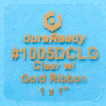 Crystal clear, 1.0 x 1.0 BOPP plastic label w/ Gold print, used for products, cards, price tags, special occasions such weddings & anniversaries.