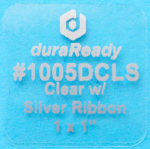 "Exclusive, 1.0 x 1.0"" clear BOPP plastic label w/silver print, used for products, cards, price tags, special occasions such weddings & anniversaries."