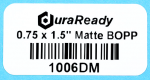 "No-fade, 0.75 x 1.5"" matte white BOPP label,  ideal for barcodes, classification, sku barcodes, product IDs, filing, and much more."