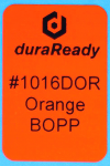 "1016DOR 1.0 x 1.5"" Orange BOPP plastic label"
