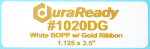 1020DG 1.125 x 3.5 White BOPP plastic label with gold ribbon