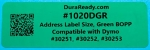 "1020DGR 1.125 x 3.5"" Green BOPP plastic label"