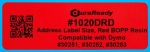 "1020DRD 1.125 x 3.5"" Red BOPP plastic label"