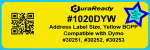 "1020DYW 1.125 x 3.5"" Yellow BOPP plastic label"