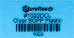 "Removable, crystal clear 2 x 1"" BOPP label for glass products and windows."