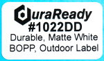 "1022DD 2.0 x 1.0"" Durable Matte  White BOPP Outdoor label"