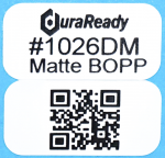 "Matte white, 2-up 0.5 x 1"" BOPP labels, great for product size, price tag, SKU, lot, date or item id's as well as dispensary, vaping, and e-liquid labels."