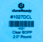 "Seamless, 2"" round crystal clear BOPP label, a DuraReady exclusive that is great for jar labels, lids, glass container labels, and candle labels."