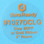 "#1027DCLG, clear BOPP with gold ribbon 2"" round labels."