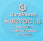 "#1027DCLS, 2"" round clear BOPP with silver ribbon."