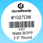 "Durable, matte white 2"" round BOPP label, useful for candle labels, barcode labels, VIN labels, jar labels, vape and dispensary labels."