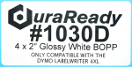 "Durable, 4 x 2"" matte white BOPP label, useful in replacing delicate paper labels to resist moisture, sunlight, UV, temperature and many other environmental hazards."
