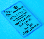 #1032DCLR-B, clear removable windshield label, BOPP with blue border service reminder and oil change labels.