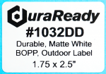 "Durable, #1032DD 1 .75 x 2.5"" matte white BOPP outdoor labels, ideal for print custom nursery and horticulture labels."