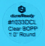 "Unobtrusive, crystal clear 1"" round BOPP DuraReady label, perfect for product marking, small container labels, vape and dispensary labels, and craft labels."