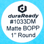 "Unobtrusive, 1.0"" Round Matte BOPP plastic label, a popular size for dispensary, vaping, e-liquid, small jars, vials and prescription container labels."