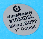 "Mirror-like silver, in a small 1"" round BOPP label, perfect for vial labels, lid labels, vape labels, dispensary labels, and warning labels."