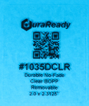 "Removable, crystal clear 2 x 2.3125"" BOPP label, perfect for service reminder windshield labels, oil change stickers, candle labels, vape and dispensary labels."