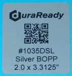 "1035DSL 2.0 x 2.3125"" Bright Silver BOPP Plastic label"