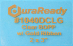"1040DCLG 2.0 x 3.0"" Clear BOPP Plastic with Gold Ribbon"