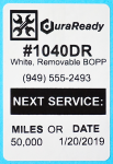 "Durable white BOPP plastic, 2 x 3"" with removability that is perfect for windshield use, service reminders and oil change stickers."