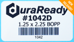 DuraReady's #1042D 1.25 x 2.25, white BOPP library label, ideal for jacket labels, DVD case labels and more.