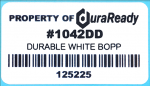 "#1042DD, 1.25 x 2.25"" Matte White Outdoor-Rated BOPP Plastic Label, 345 per roll, Outdoor-rated for up to 1 year or more, Compatible with Dymo Labelwriter label and select Zebra printers"