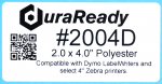 "2004D 2.0 x 4.0"" White Polyester Plastic label"