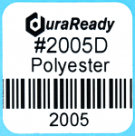 "2005D 1.0 x 1.0"" White Polyester Plastic label"