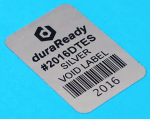 "Tamper-evident, VOID 1 x 1.5"" silver polyester, perfect for asset tagging labels, product security labels, and merchandising labels."