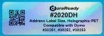 "Outdoor-rated, 1.125 x 3.5"" holographic polyester address label."