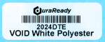 "Secure, white VOID polyester 0.75 x 2"" label, ideal for asset tagging, barcodes, dates, lot codes, and serial numbers."