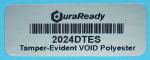 "Secure, bright silver VOID polyester 0.75 x 2"" label, ideal for asset tagging, barcodes, dates, lot codes, and serial numbers."