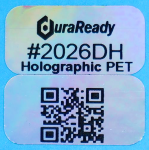 "Eye-catching, holographic silver in a 2-up 0.5 x 1"" polyester label, ideal for pricing, merchandising, categorizing and any heat or UV sensitive products."