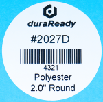 "2027D 2.0"" Round White Polyester plastic label"