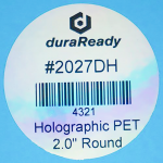 "Unique, durable 2"" round holographic polyester label, resistant to heat exposure, ideal for candle labels, practice management labels, diy event decor, and organization."