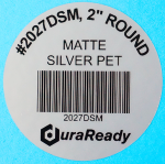 "#2027DSM, matte silver 2"" round polyester labels for product identification, asset tagging, and UID labels."