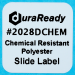 "Chemical & xylene resistant, 0.875 x 0.875"" white polyester slide label, made for laboratory settings."